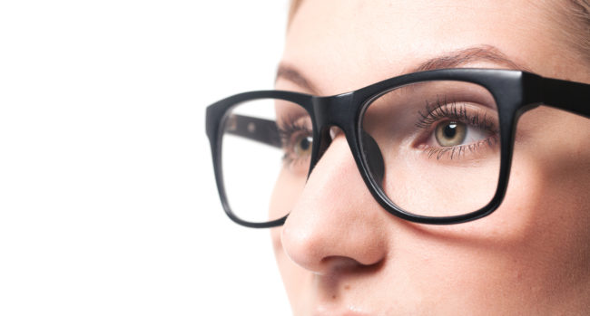 woman wearing glasses close-up